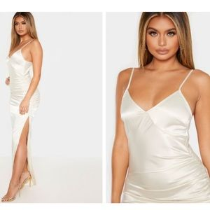 Cream ruched strappy satin dress